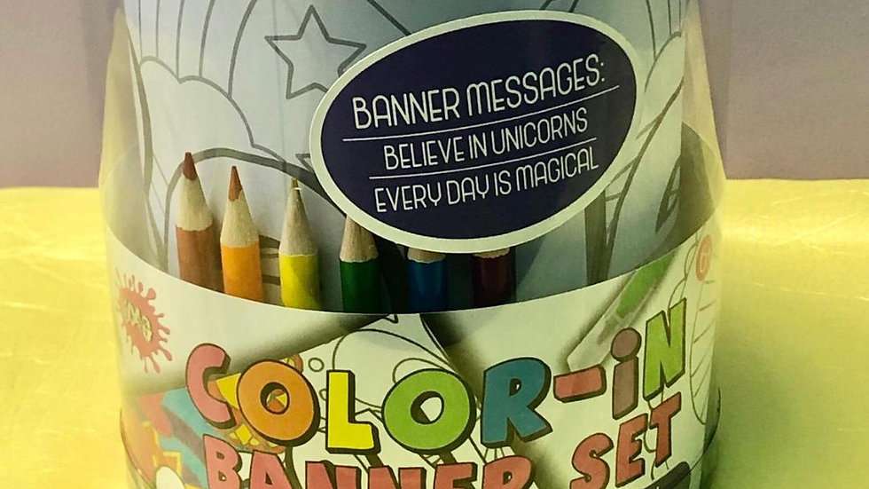 Color-In Banner Set Unicorn