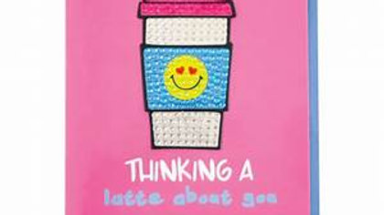 Thinking a Latte About You Rhinestone Decal Notecards & Envelope