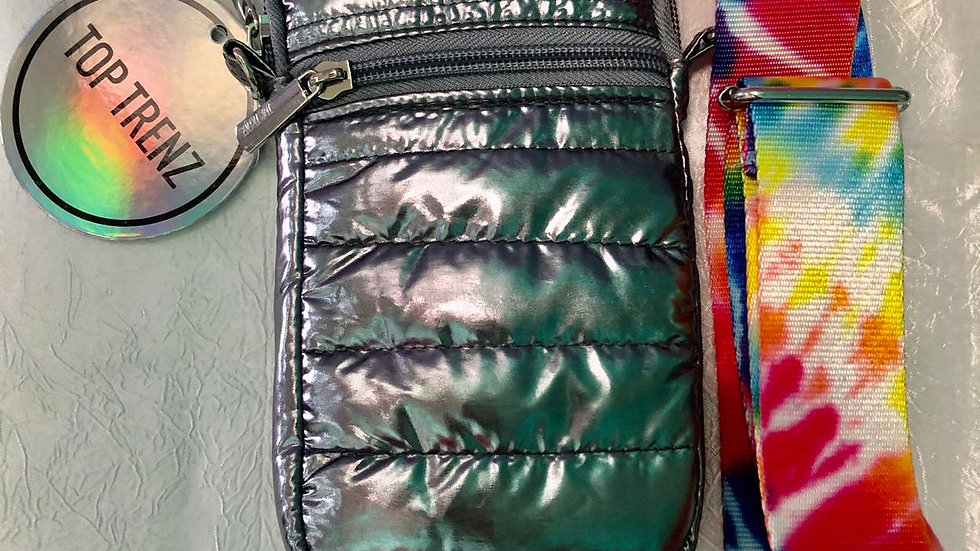 Top Trenz Silver Puffer Colorful Tie-Dye Cell Phone Bag