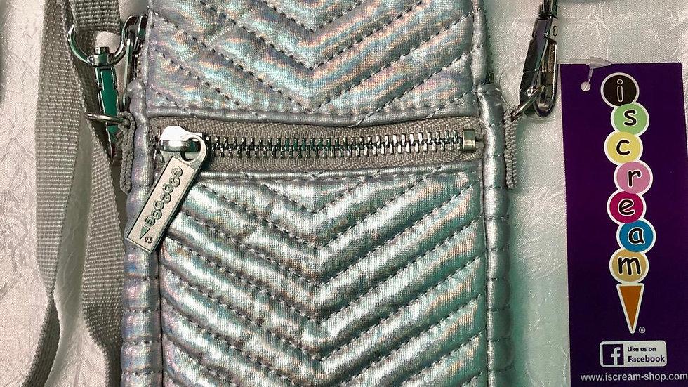 Iscream Silver Chevron Cell Phone Bag