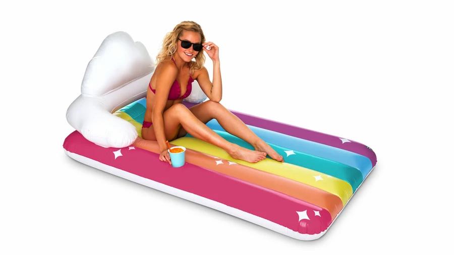 Giant rainbow lounge pool float