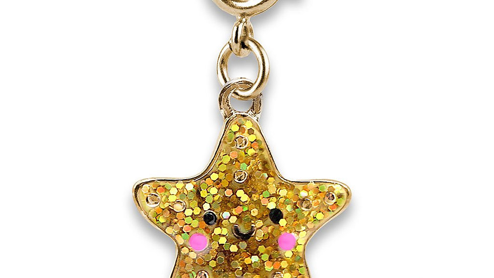 Gold Glitter Star Fish Charm