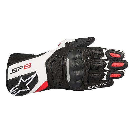 Alpinestars SP-8 V2 Leather Gloves - Black/White/Red