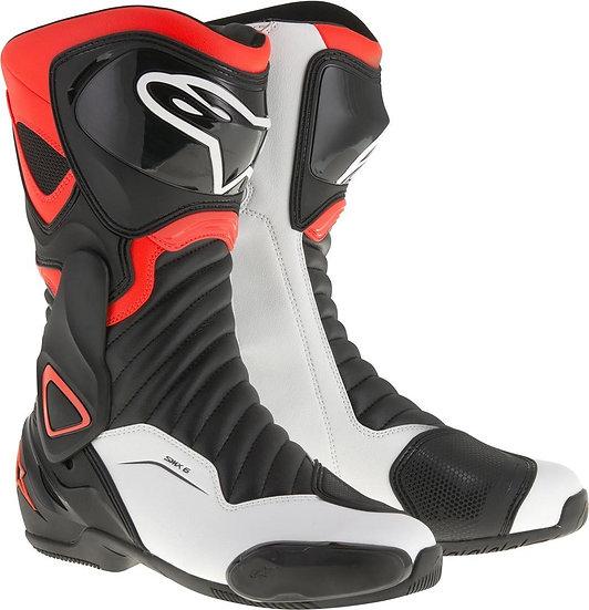 Alpinestars SMX 6 V2 Boots - Black/White/Red Fluro