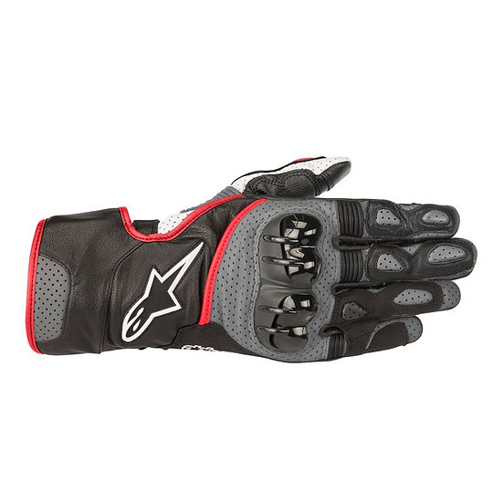 Alpinestars SP-2 V2 Leather Gloves - Black/Grey/Red Fluro