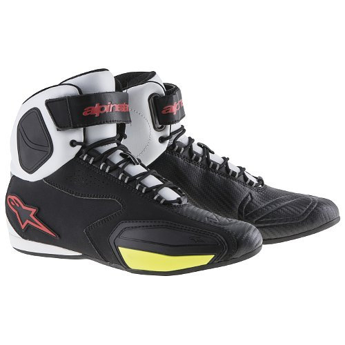 Alpinestars Faster Vented Shoes - Black/White/Yellow Fluro