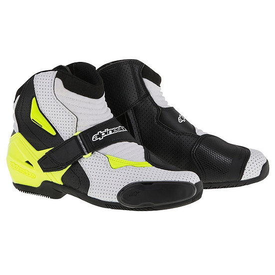 Alpinestars SMX 1 R Vented Boots - Black/White/Yellow Fluro