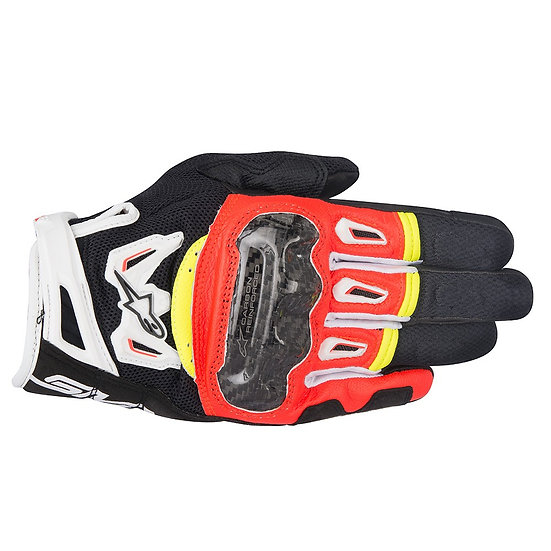 Alpinestars SMX-2 Air Carbon V2 Gloves - Black/Red/White/Yellow Fluro