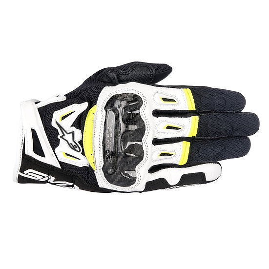 Alpinestars SMX-2 Air Carbon V2 Gloves - Black/White/Yellow Fluro