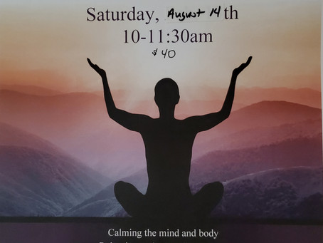 Stress and Anxiety Management Workshop, August 14