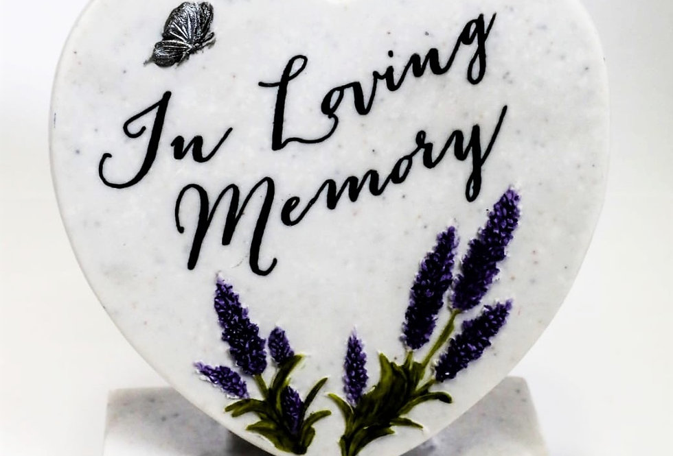 In Loving Memory Remembrance Heart Lavender Plaque Ornament