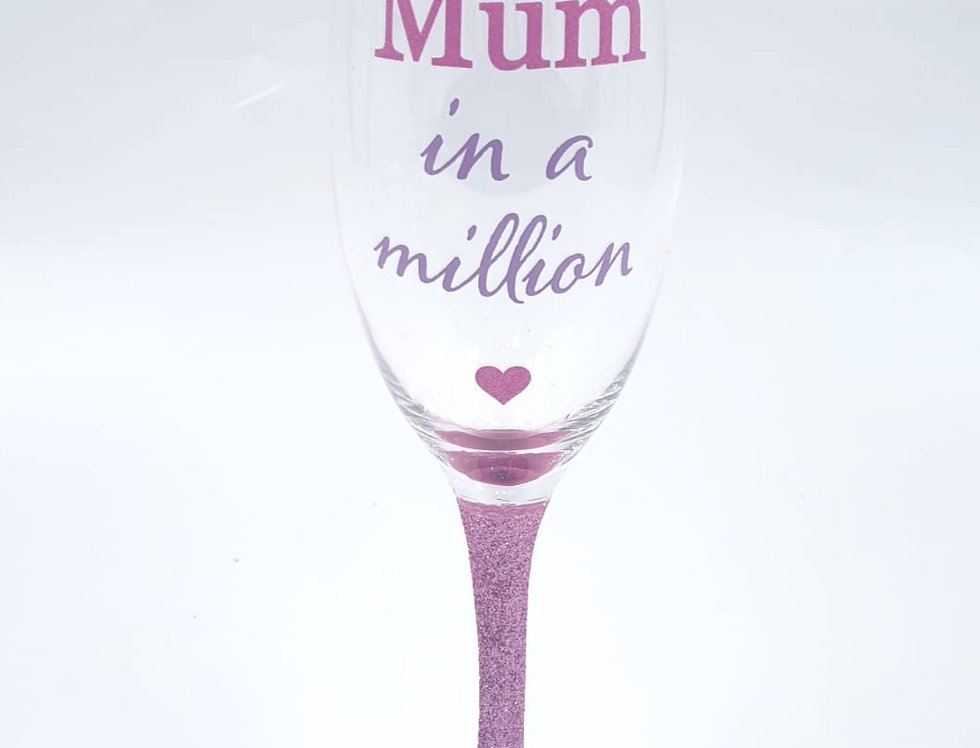 Pink Mum in a Million Glitter Proseco Glass