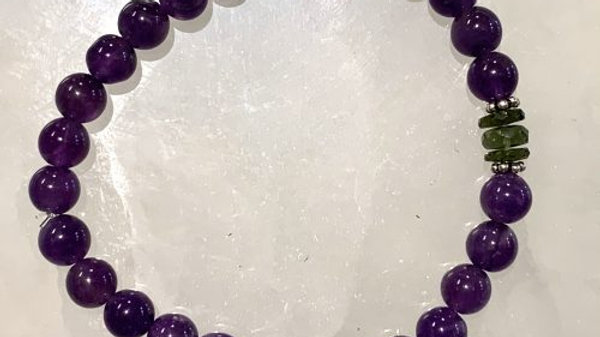 Moldavite and Amethyst Bracelet