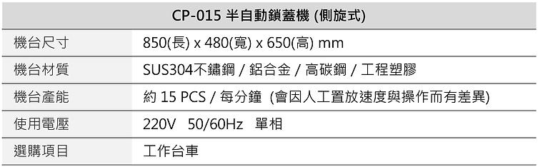 半自動側旋式鎖蓋機 (伺服馬達) CP-015