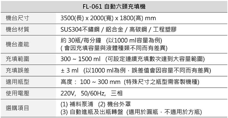 自動六頭充填機 FL-061