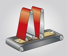 Crossbelt sanding unit with electronic segmented pad