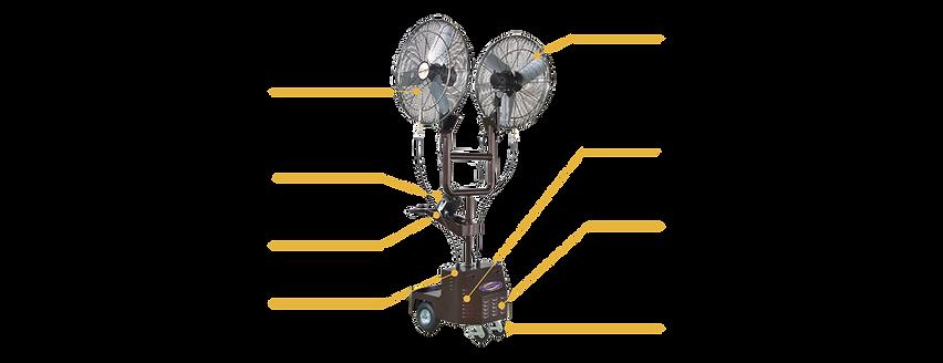 "High Pressure Portable Misting Fan with Dual 30"" Fan Head"