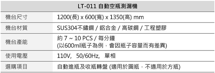 自動空瓶測漏機 LT-011