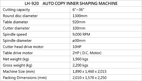 AUTO COPY INNER SHAPING MACHINE