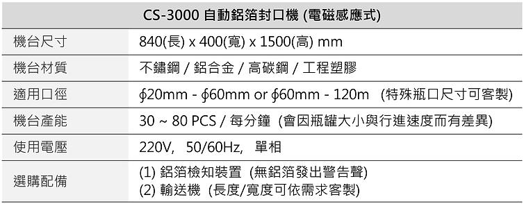 自動瓶蓋鋁箔封口機 (電磁感應) CS-3000