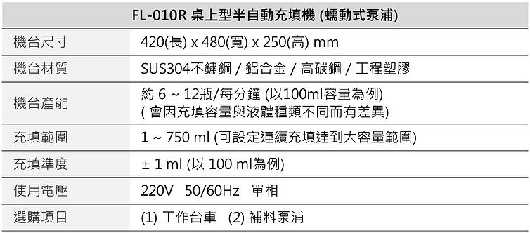 半自動蠕動式充填機 (桌上型) FL-010R