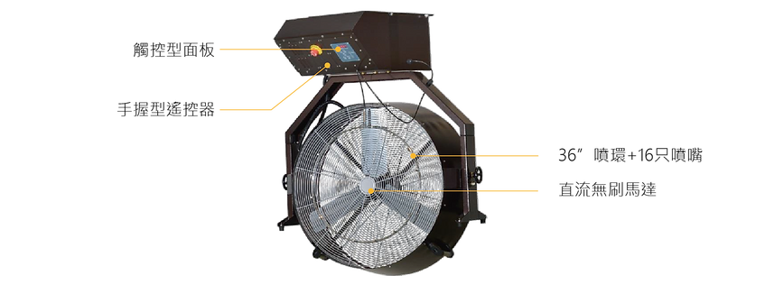 "High Pressure Portable Misting Fan with Dual 30"" Fan Head"