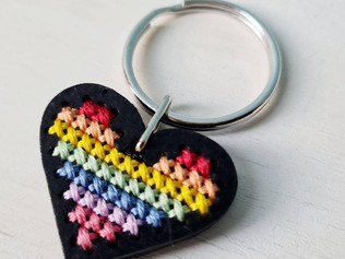 Cross stitch rainbow heart keyring