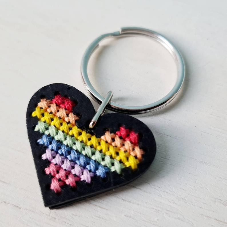 Cross stitch rainbow heart keyring