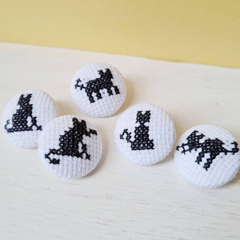 Cross stitch cat buttons