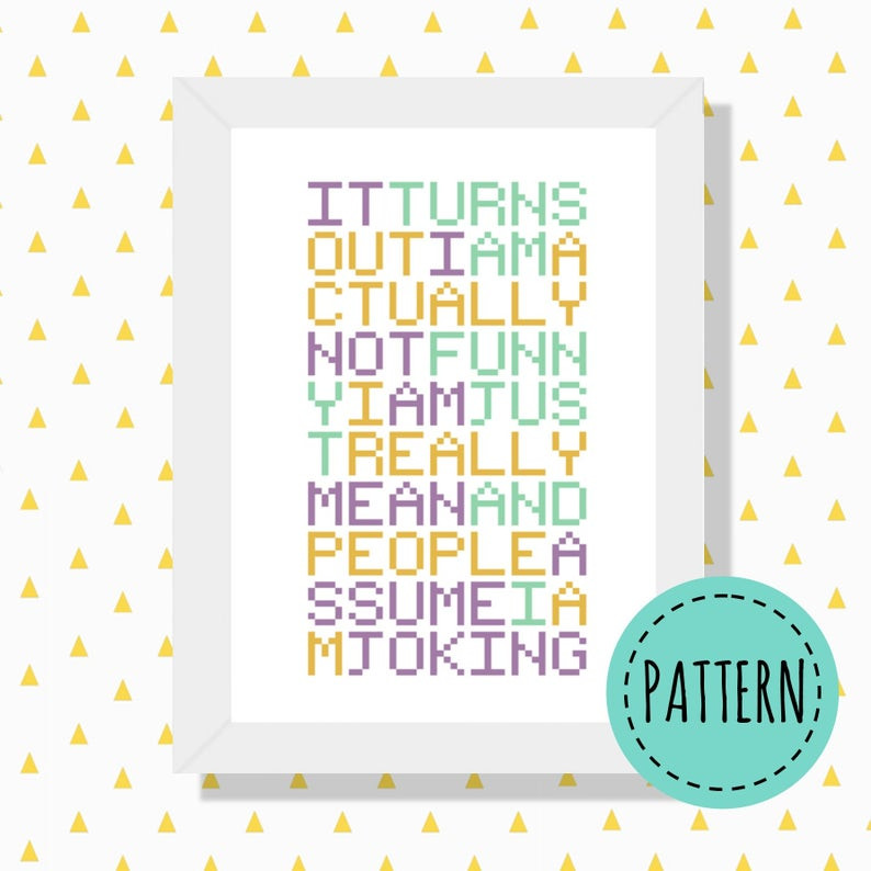 Joking cross stitch pattern