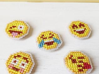 Emoji cross stitch magnets