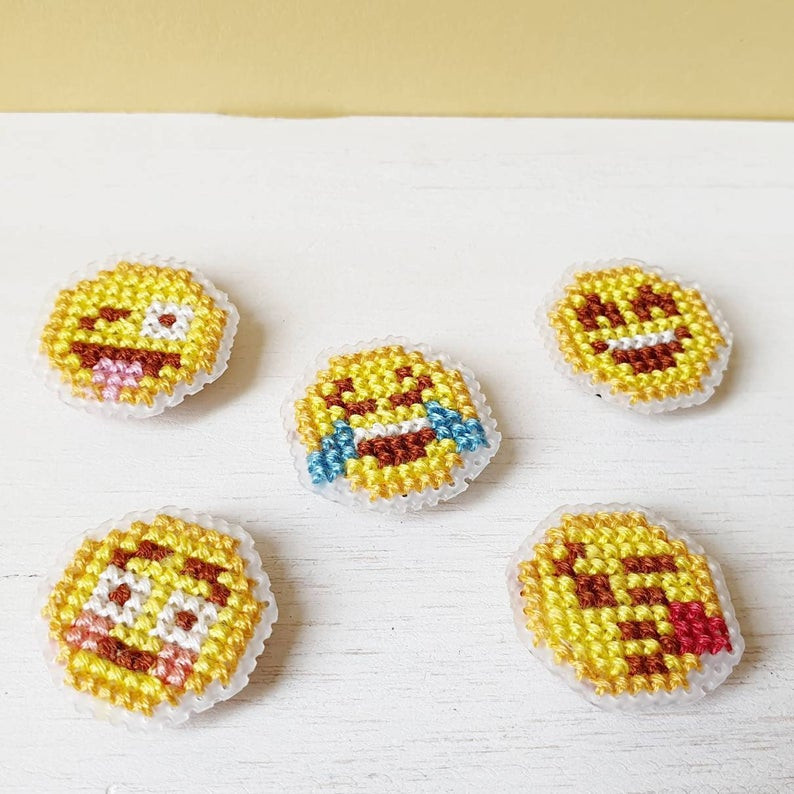 Emoji cross stitch magnets