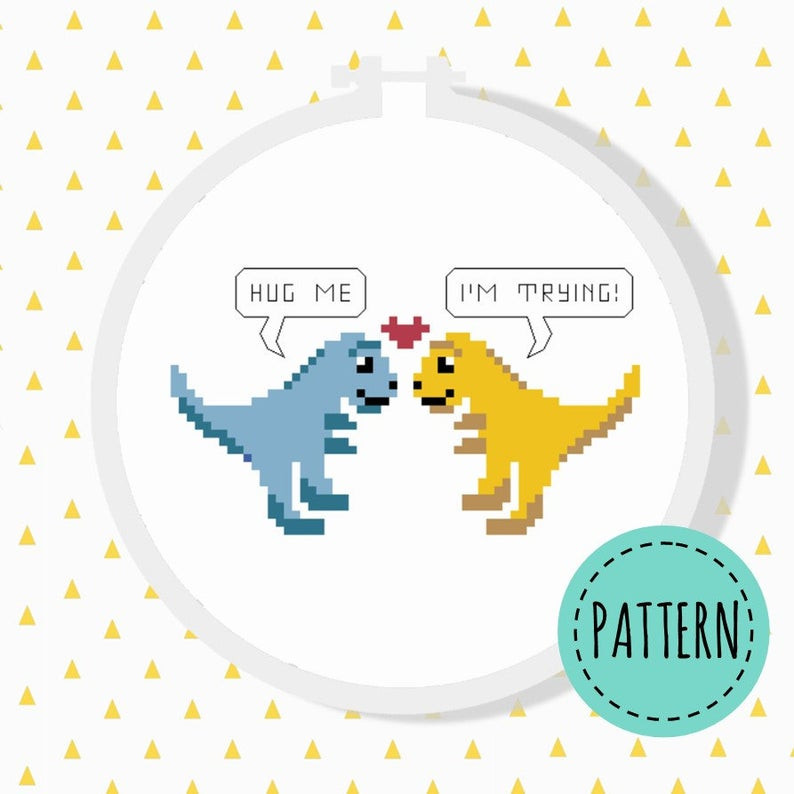 T-rex cross stitch pattern