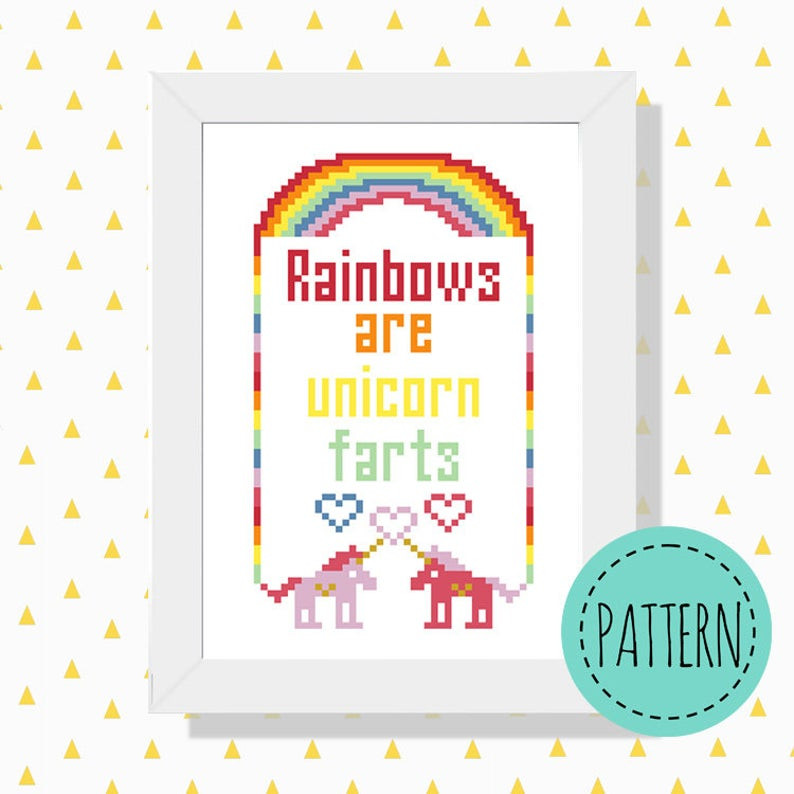 Unicorn rainbow cross stitch pattern