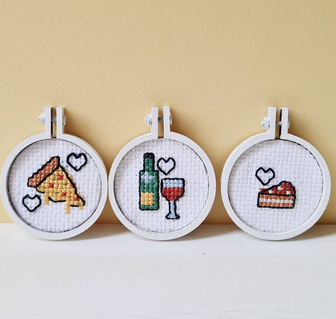 Mini cross stitch food magnets