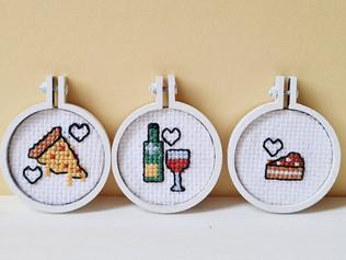 Mini cross stitch food magnets