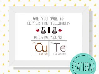 Cute periodic table cross stitch pattern