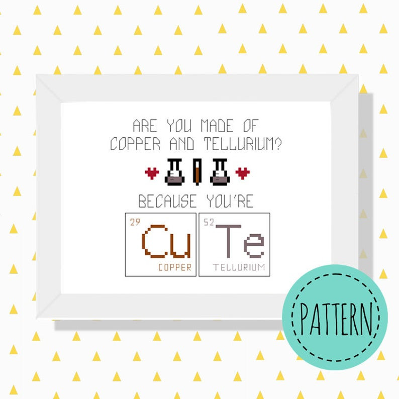 Cute periodic table cross stitch pattern