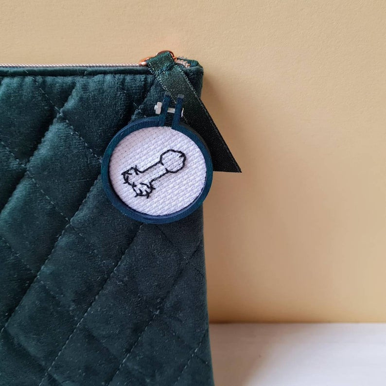 Stitched willy pin badge