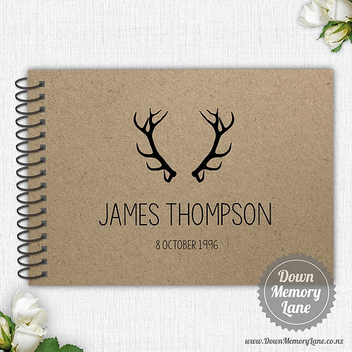 A4 Size - Birthday Antlers on Kraft