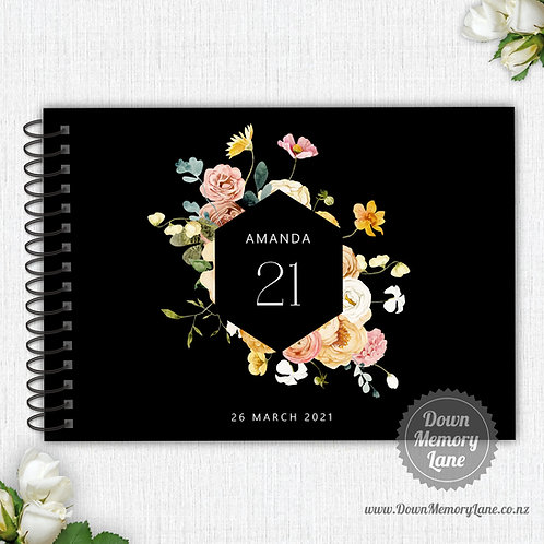 A4 Size - Birthday Spring Meadow on Black