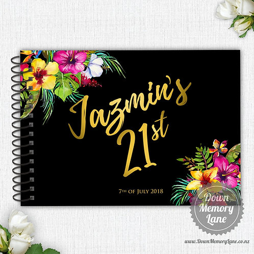 A4 Size - Birthday Bright Tropical on Black