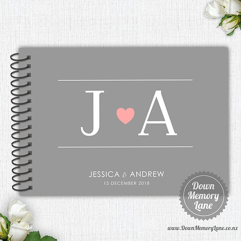 A4 Size - Heart Initials on Grey