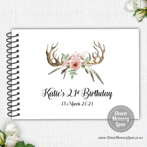A4 Size - Birthday Boho Antlers