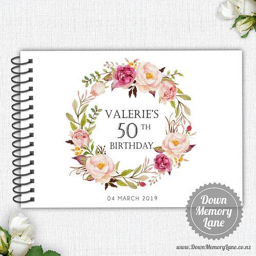 A4 Size - Birthday Blush Wreath on White