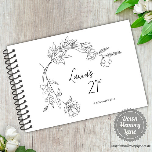 A5 Size - Birthday Simple Botanicals on White