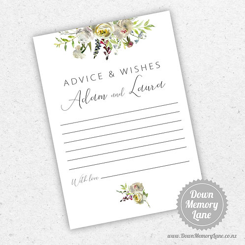 Advice Cards - White Flora
