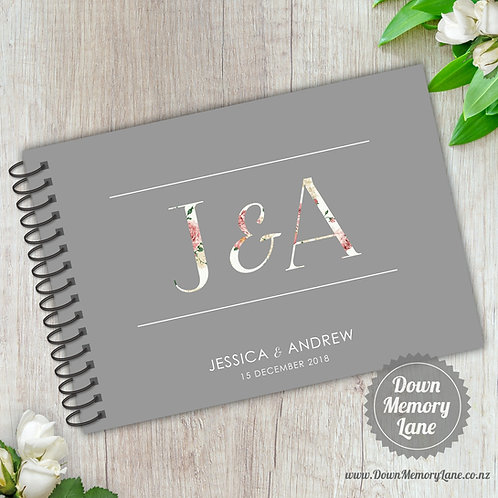 A5 Size - Floral Initials on Grey