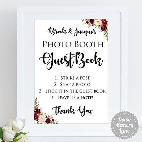 Instax/Polaroid/Photo Booth - Burgundy Cream Florals