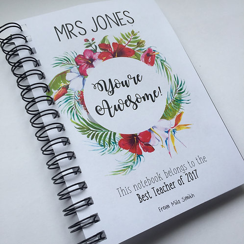 A5 Size - Gift Notebook - Tropical Wreath